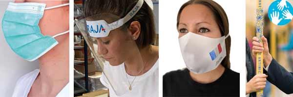 masques, visières et adhésif antimicrobien coronavirus