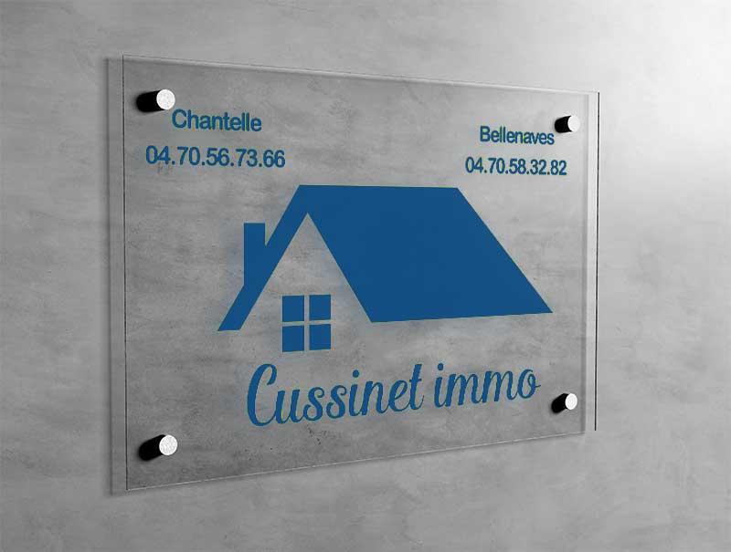 Plaque professionnelle immobilière acrylique plexiglas pmma sur mesure