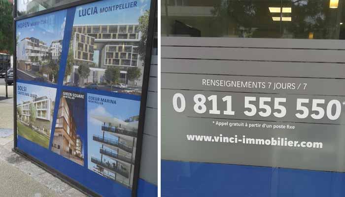 Lettrage vitrine immobilier dépoli occultant et microperforé