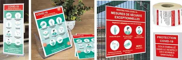 Flyers, dépliants, étiquettes, panneaux coronavirus
